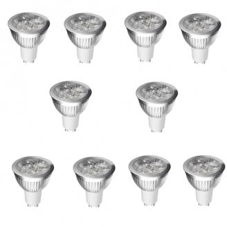 SET 10 SPOTURI  LED GU10 3W ALB RECE